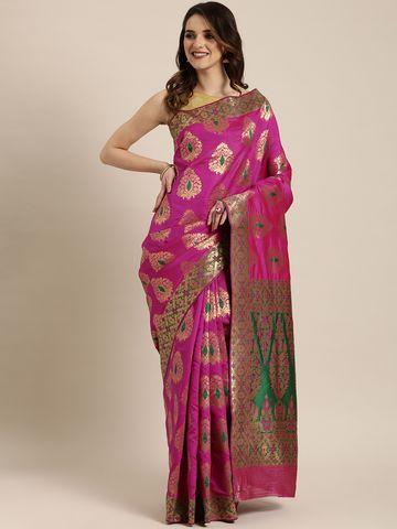 Vastranand   VASTRANAND  Pink & Gold-Toned Silk Blend Woven Design Banarasi Saree