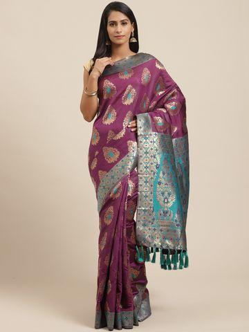 Vastranand   VASTRANAND Aubergine & Golden Zari Woven Design Banarasi Saree
