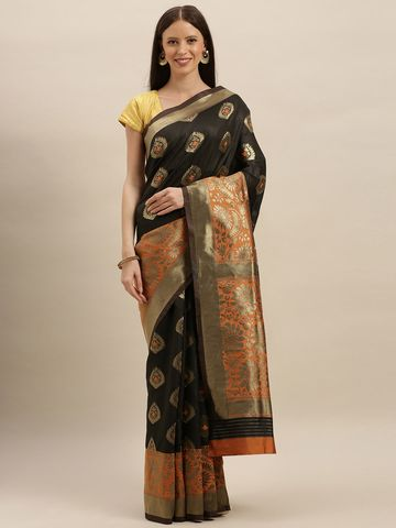 Vastranand | VASTRANAND  Blue & Green Linen Blend Printed Ikat Saree