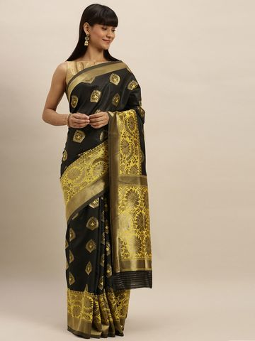 Vastranand | VASTRANAND  Black & Yellow Silk Blend Embroidered Banarasi Saree