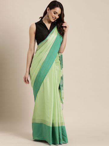Vastranand | VASTRANAND  Sea Green Solid Linen Blend Saree