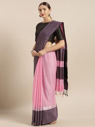 Vastranand | VASTRANAND  Pink & Black Linen Blend Solid Saree