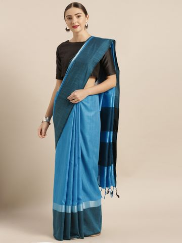 Vastranand | VASTRANAND  Blue & Black Linen Blend Solid Saree