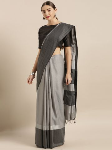 Vastranand | VASTRANAND  Grey & Black Linen Blend Solid Saree