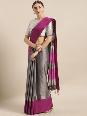 Vastranand | VASTRANAND  Grey & Pink Linen Blend Solid Saree