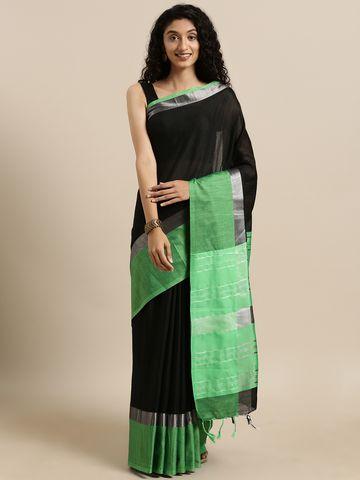 Vastranand | VASTRANAND  Black & Green Solid Angolla Linen Blend Saree