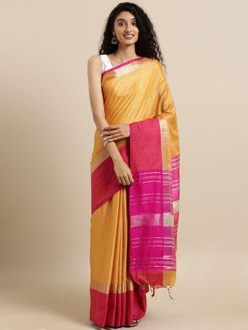 Vastranand | VASTRANAND  Mustard Yellow & Pink Linen Blend Solid Saree