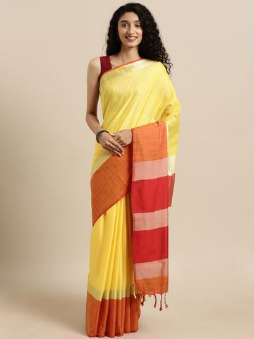 Vastranand | VASTRANAND  Yellow & Orange Linen Blend Solid Saree