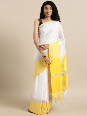 Vastranand | VASTRANAND  White & Yellow Solid Angolla Linen Blend Saree