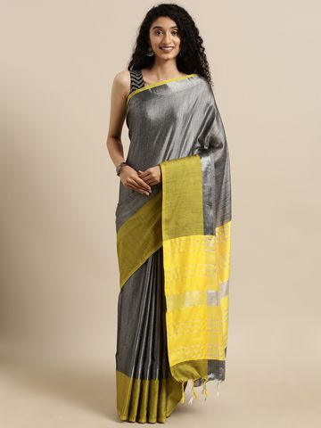 Vastranand | VASTRANAND  Grey & Yellow Linen Blend Solid Saree