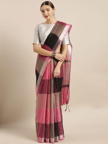 Vastranand | VASTRANAND  Black & Pink Linen Blend Checked Saree