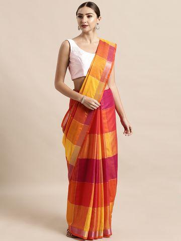 Vastranand | VASTRANAND  Red & Orange Linen Blend Checked Saree