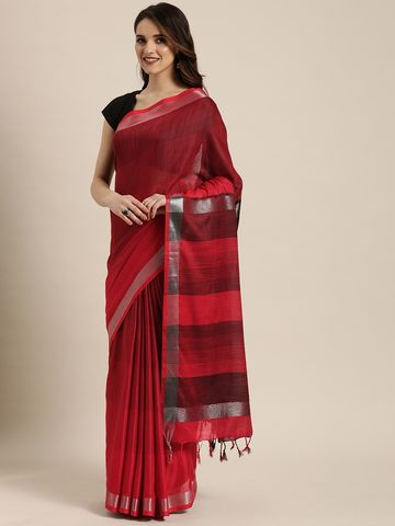 Vastranand | VASTRANAND  Red & Black Linen Blend Striped Saree