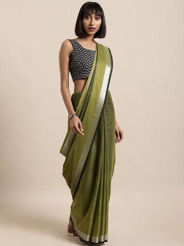 Vastranand | VASTRANAND  Green Striped Linen Blend Saree