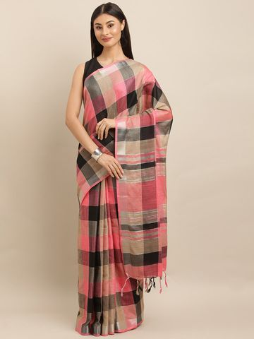 Vastranand | VASTRANAND  Coral Pink & Coffee Brown Linen Blend Checked Saree