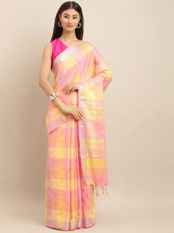 Vastranand | VASTRANAND  Pink & Yellow Linen Blend Checked Saree