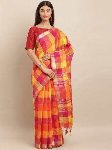 Vastranand | VASTRANAND  Yellow & Pink Linen Blend Checked Saree