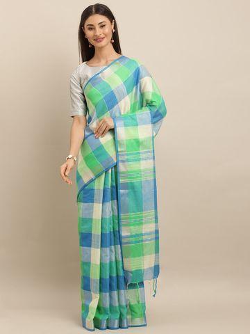 Vastranand | VASTRANAND  Cream-Coloured & Turquoise Blue Linen Blend Checked Ikat Saree
