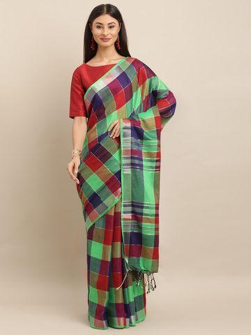 Vastranand | VASTRANAND  Sea Green & Red Linen Blend Checked Saree