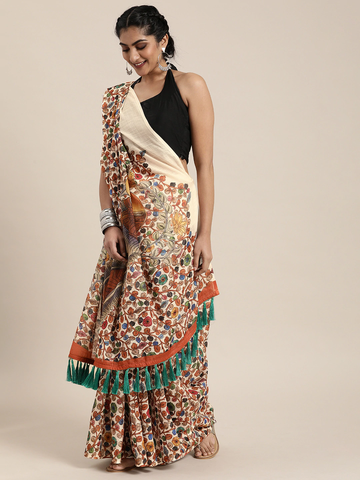 Vastranand | VASTRANAND  White & Rust Red Linen Blend Kalamkari Printed Saree