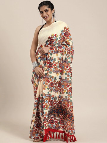 Vastranand | VASTRANAND  Off-White & Rust Orange Linen Blend Kalamkari Printed Saree