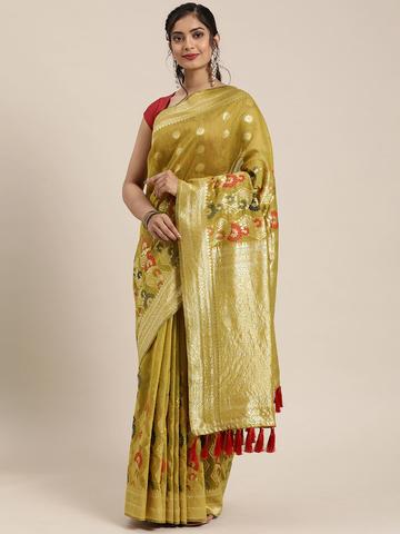 Vastranand   VASTRANAND  Beige & Red Cotton Blend Woven Design Banarasi Saree