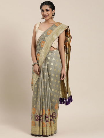 Vastranand | VASTRANAND  Grey Melange & Gold-Coloured Cotton Blend Printed Banarasi Saree