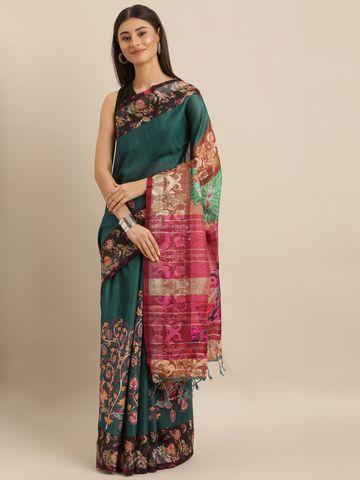 Vastranand | VASTRANAND  Green & Pink Linen Blend Digital kalamkari Printed Saree