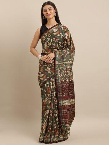 Vastranand | VASTRANAND  Green & Beige Linen Blend Digital kalamkari Printed Saree