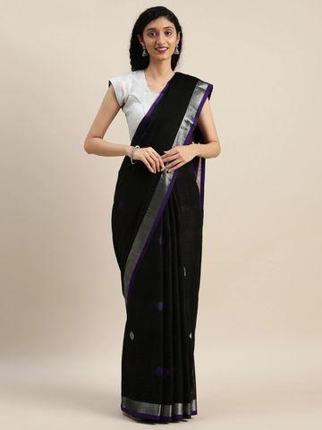 Vastranand | VASTRANAND  Purple & Black Linen Blend Woven Design Banarasi Saree