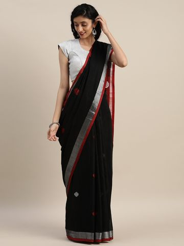 Vastranand | VASTRANAND  Black & Red Linen Blend Woven Design Saree