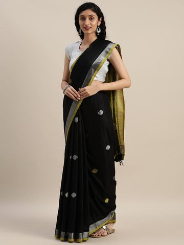 Vastranand | VASTRANAND  Black & Yellow Linen Blend Woven Design Saree