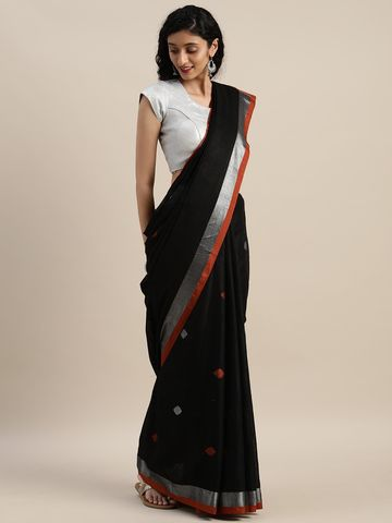 Vastranand | VASTRANAND  Black & Orange Linen Blend Woven Design Saree