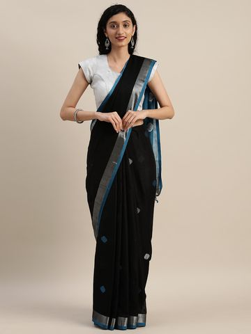Vastranand | VASTRANAND  Black & Blue Linen Blend Woven Design Saree