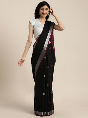 Vastranand | VASTRANAND  Black Linen Blend Woven Design Saree