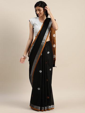 Vastranand | VASTRANAND  Mustard & Black Linen Blend Woven Design Banarasi Saree