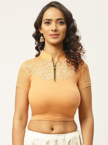 Vastranand | VASTRANAND Women Beige Lace Detail Stretchable Saree Blouse