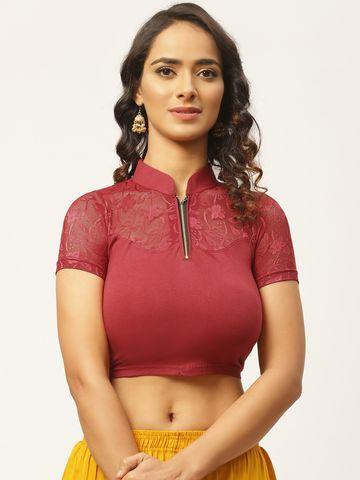 Vastranand | VASTRANAND Women Maroon Solid Stretchable Saree Blouse