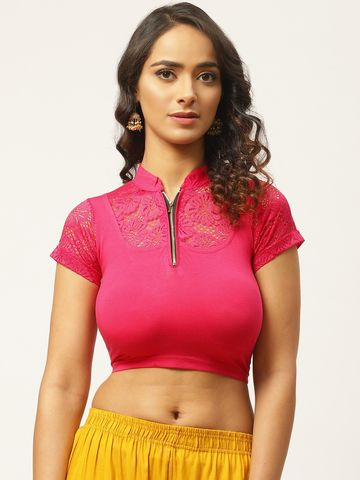 Vastranand | VASTRANAND Women Pink Solid Stretchable Saree Blouse