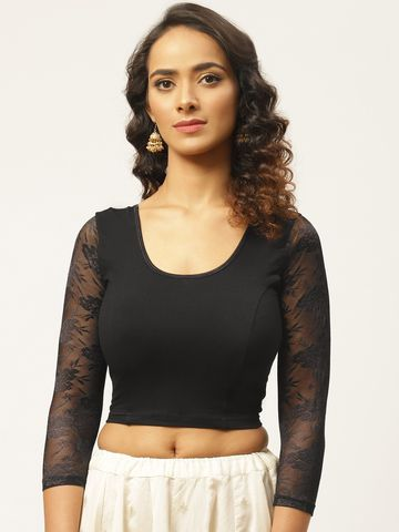 Vastranand | VASTRANAND Women Black Cotton Solid Lace Detail Stretchable Saree Blouse
