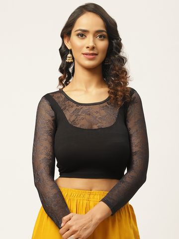 Vastranand | VASTRANAND Women Black Solid Stretchable Saree Blouse With Lace Detail