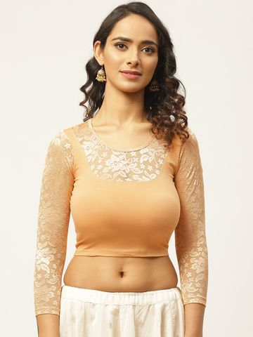 Vastranand | VASTRANAND Women Cream-Coloured Solid Stretchable Saree Blouse