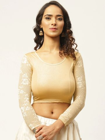Vastranand | VASTRANAND Women Golden Solid Stretchable Saree Blouse