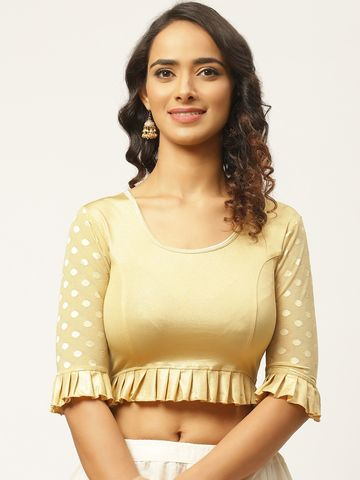Vastranand | VASTRANAND Women Beige Solid Stretchable Saree Blouse