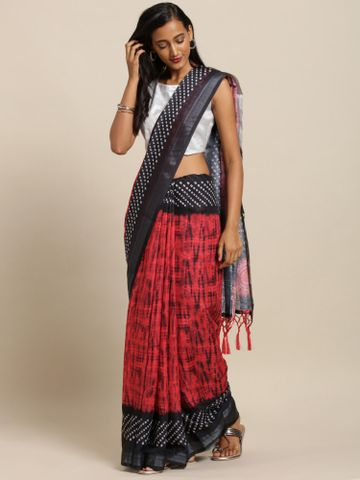 Vastranand | VASTRANAND  Red & Black Linen Blend Printed Bandhani Saree