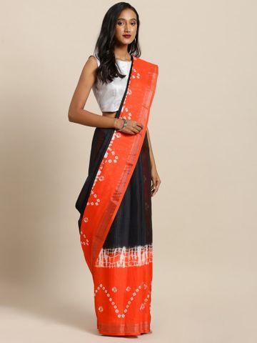 Vastranand | VASTRANAND  Black & Orange Linen Blend Ikat Shibori Printed Bandhani Saree
