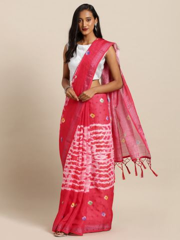 Vastranand | VASTRANAND  Pink & White Linen Blend Printed Bandhani Saree