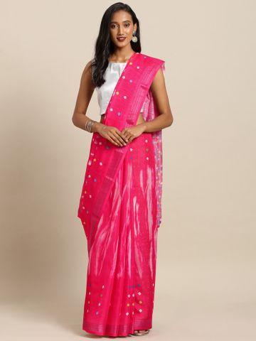 Vastranand | VASTRANAND  Pink & White Linen Blend Ikat Shibori Printed Bandhani Saree