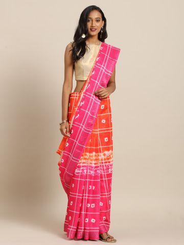 Vastranand   VASTRANAND  Orange & Pink Linen Blend Printed Bandhani Saree