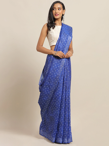 Vastranand | VASTRANAND Blue & White Cotton Blend Printed Bandhani Saree